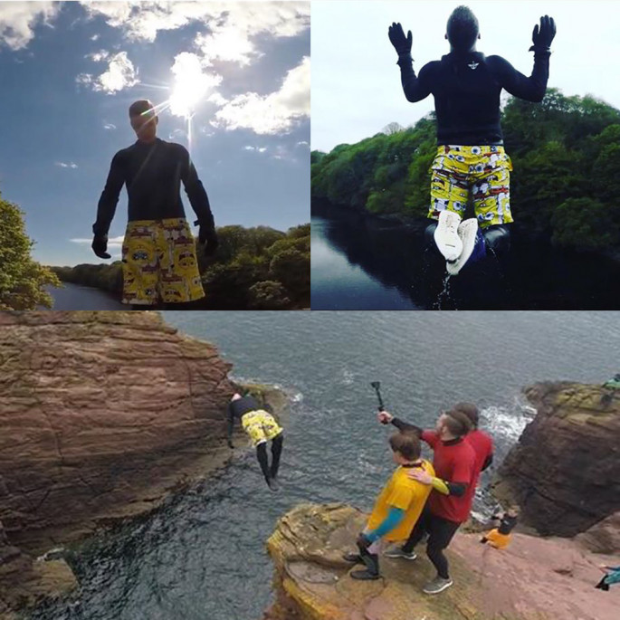 Chris Murphy cliff jumping shots in his Northern Diver gloves and wetsuit