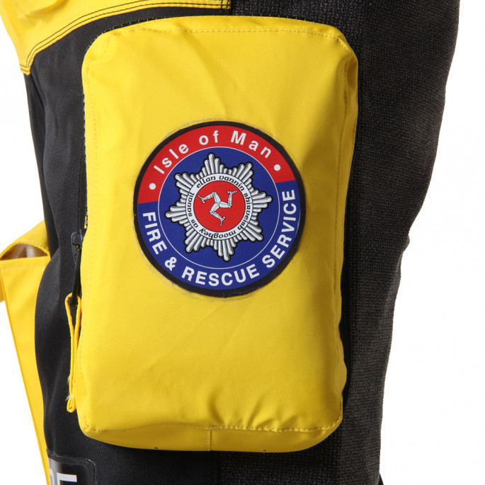 Isle of Man Rescue & Responder Suit - close up of transporter pocket with team crest