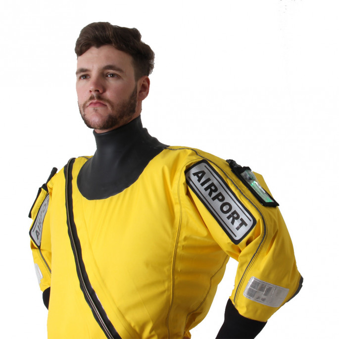 Isle of Man Rescue & Responder Suit - side view, close up of top half, Flexi-Light pocket