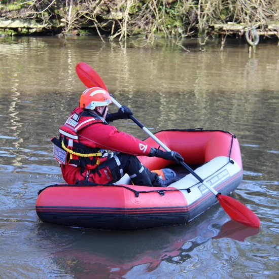 Double paddle being used with a 2.4m inflatable raft