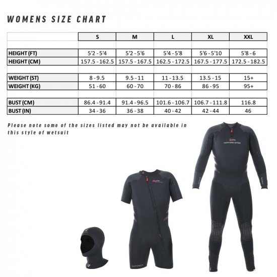 Women's size chart for the Delta Flex Semi-Tech wetsuit