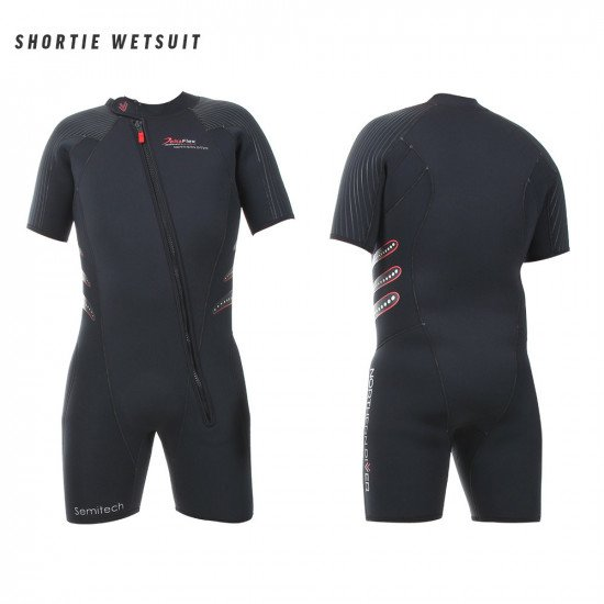 Front and back view of the Delta Flex Semi-Tech Shortie wetsuit