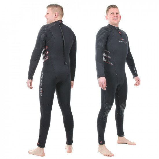 A one piece steamer wetsuit suitable for a range of diving conditions