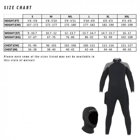 7mm sport wetsuit size chart