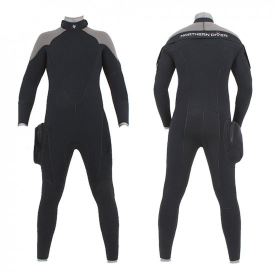 A 7mm rear entry wetsuit with horizontal plastic zip