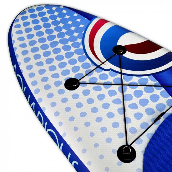 Aquarious iSUP board - White & Blue, close up of the top of the board and the cargo area