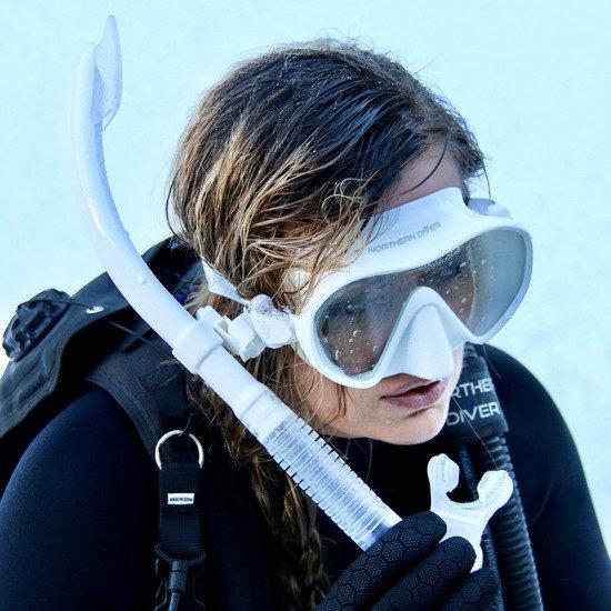 Ladies snorkel and scuba diving mask set white