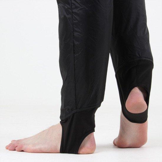 Comfortable flexible foot stirrups built into the undersuit