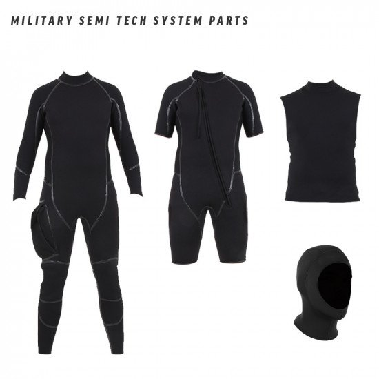 Military semi tech system includes a long wetsuit, shortie wetsuit, neoprene vest and a separate hoo