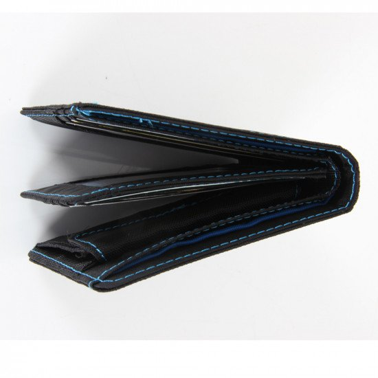 Black and blue ND Wallet - inside, partially open side view