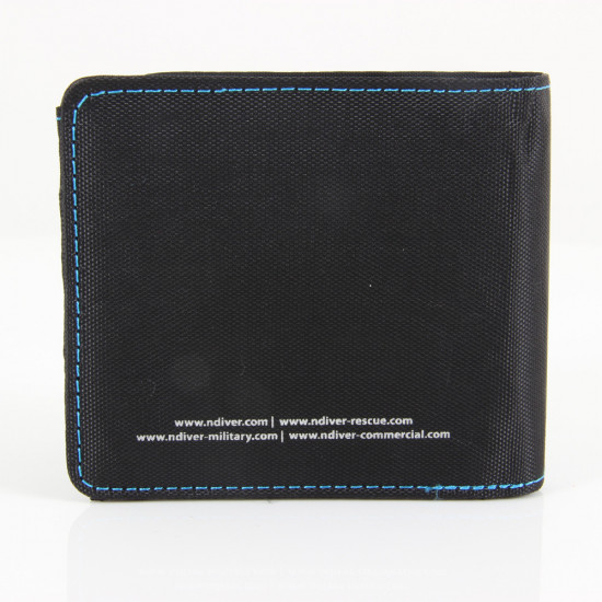 Black and blue ND Wallet - rear view