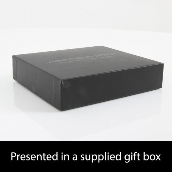 Black and blue ND Wallet - presentation box, side view