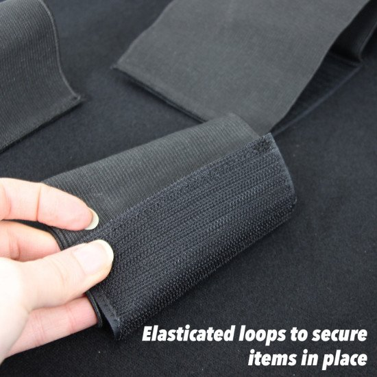 The elasticated loops are easy to move and place on any part of the base so that the case works in the best way for you