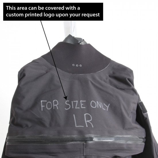 Surface suit is ex-demo and has writing on the chest along with the size LR