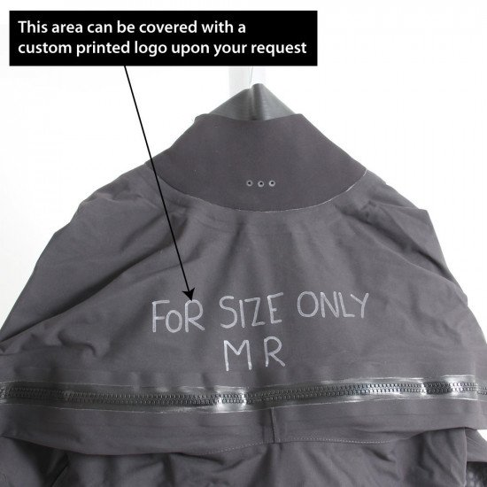 Surface suit is ex-demo and has writing on the chest along with the size MR