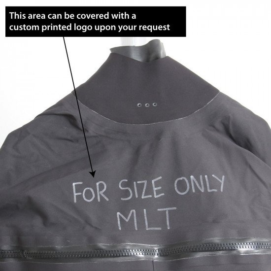 Surface suit is ex-demo and has writing on the chest along with the size MLT