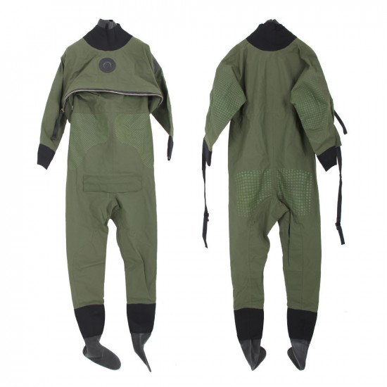 Front and back view of the lake green lightweight surface suit