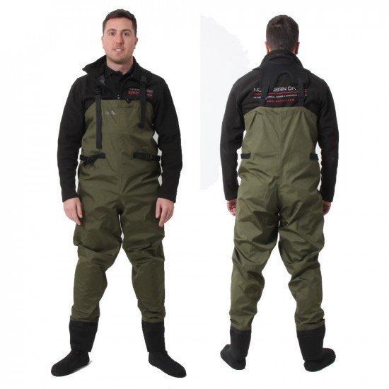 Men's Green Fly Fishing Waders with Socks - front & back view
