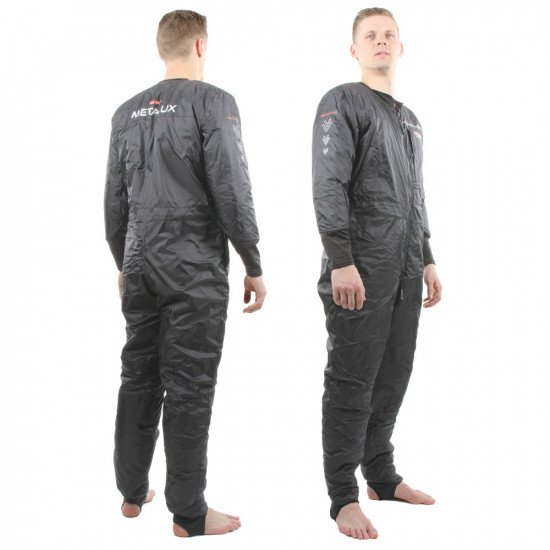 The garment is designed to reflect thermal radiation and reduce air movement, even when wet or compr