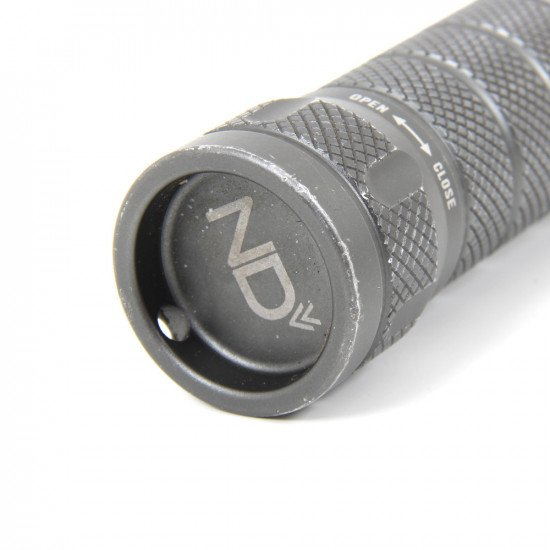 A rechargeable 18650 Li-ion battery and an intelligent USB battery charger are included with the Micro