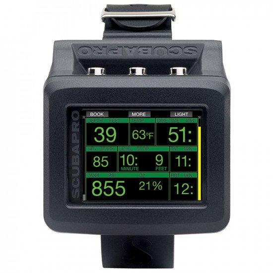 SCUBAPRO G2 Wrist Dive Computer - Stats screen, depth, temperature, dive time, heart rate monitor, t