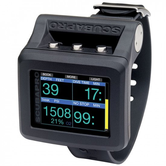 SCUBAPRO G2 Wrist Dive Computer - Main  stats screen, depth, dive time, air & decompression stop tim