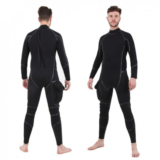 Semi-Tech 3-piece Wetsuit System - Long John only including side bellows pocket, front & back view