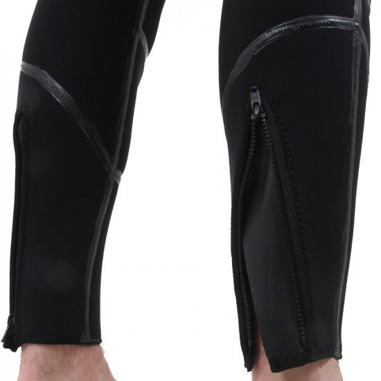 The long john wetsuit that is apart of the military semi tech system is finished with zipped ankle s