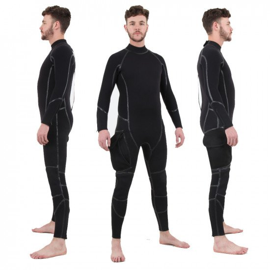 Semi-Tech 3-piece Wetsuit System - Long John only including side bellows pocket, front & side views