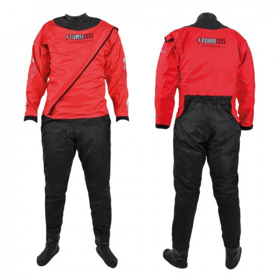 Front and back view of the 210D red SF4 watersports suit in the front entry option