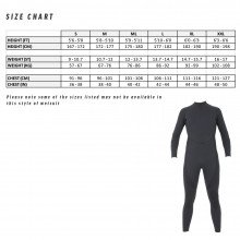 All black military 3.0mm and 5.0mm neoprene wetsuit size chart