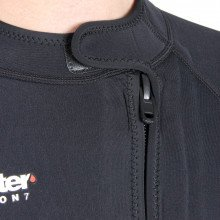 The hotwater wetsuit / undersuit has a front entry YKK plastic vertical zip with Velcro tab to secure the zip in place when closed