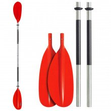 Robust 4-piece double paddle with asymmetrically adjustable blades.