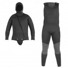 Front view of the beavertail jacket and farmer john wetsuit combo