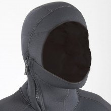 The jacket also features an attached hood that helps prevent water from entering down the back of th