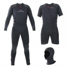 The Delta Flex Semi-Tech Wetsuit includes a long john wetsuit, shortie wetsuit and separate hood