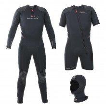 The Delta Flex Semi-Tech Wetsuit includes a long john wetsuit, shortie wetsuit and separate hood