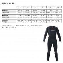 5.5mm Semi Tech Long John Wetsuit size chart