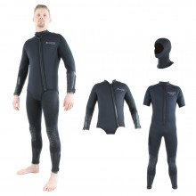 This wetsuit includes a beavertail over jacket, farmer john wetsuit and separate hood.