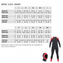 Mens size chart for the storm wetsuit