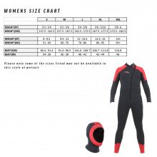 Women's size chart for the storm wetsuit