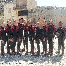 St Mary's School in Malta wearing our Storm and Hotwater Wetsuits