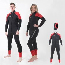 Front view of the 6.0mm and 4.0mm storm neoprene wetsuit with hood included