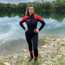 Our storm wetsuit pictured in use showing it is unisex