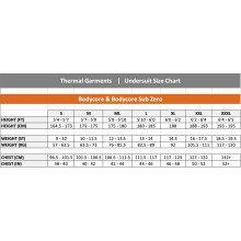 Bodycore & Bodycore Sub Zero Size Chart