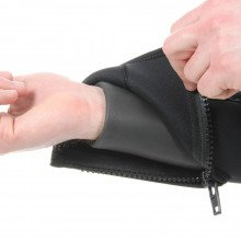 The Delta Flex Semi-Tech wetsuit has smooth skin wrist seals and plastic zipped protective cuff cove
