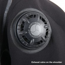 Divemaster Commercial exhaust valve on the shoulder