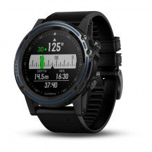 Garmin Descent™ Mk1 Grey Sapphire with Black Band front view, co-ordinates face