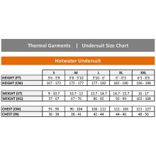Undersuits/Thermal Garments Size Chart | Northern Diver International