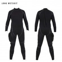 Steamer wetsuit has long arms and legs with liquid taped seams and a large leg pocket
